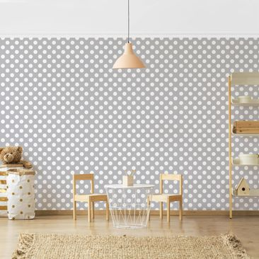 Product picture Photo Wall Mural - White Dots On Gray -...