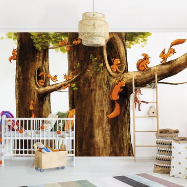 Product picture Photo Wall Mural - Home Of Squirrels -...