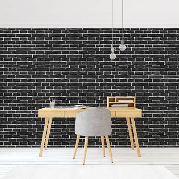 Product picture Photo Wall Mural - Brick Wall Black -...
