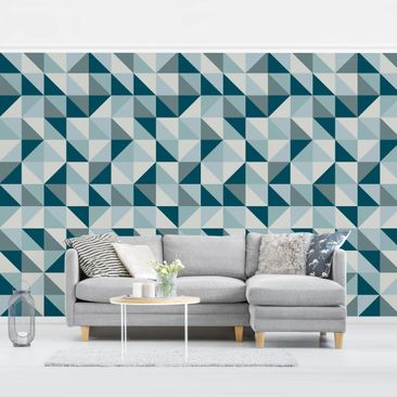 Product picture Photo Wall Mural - Blue Triangle Pattern...