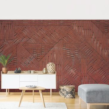 Product picture Photo Wall Mural - Design Brick Red -...