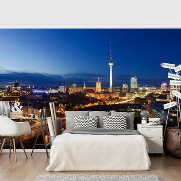 Product picture Photo Wall Mural - TV Tower At Night -...