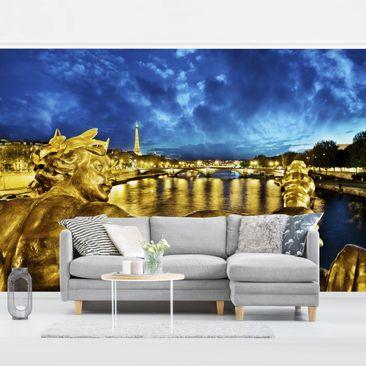 Produktfoto Tapete selbstklebend - Goldenes Paris - Fototapete Querformat