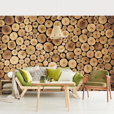 Produktfoto Tapete selbstklebend - Homey Firewood - Fototapete Querformat