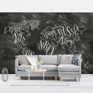 Product picture Photo Wall Mural - Chalk World Map -...