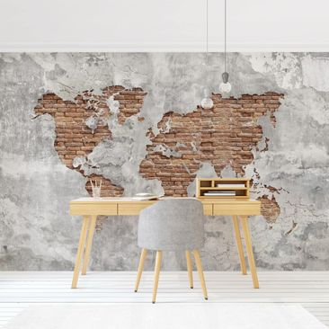 Product picture Photo Wall Mural - Shabby Concrete Brick...