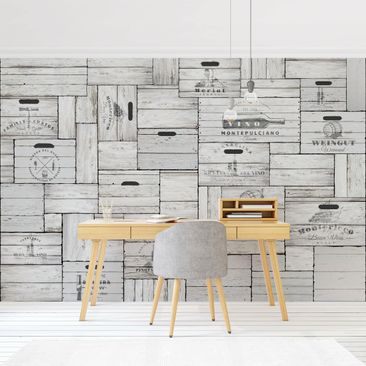 Product picture Photo Wall Mural - Shabby Wooden Boxes -...