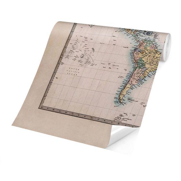 Produktfoto Tapete selbstklebend - Vintage Weltkarte um 1850 - Fototapete Querformat