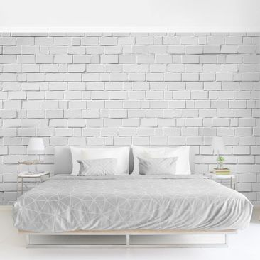 Product picture Photo Wall Mural - White Stone Wall -...