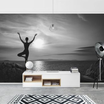 Product picture Photo Wall Mural - Yoga Black And White...