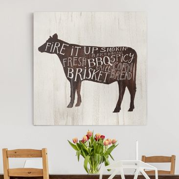 Product picture Canvas Art - Farm BBQ - Cow - Square 1:1