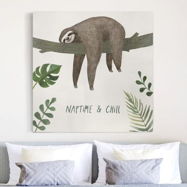 Product picture Canvas Art - Sloth Sayings - Chill -...