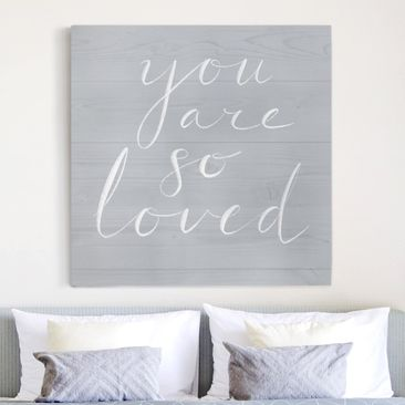 Product picture Canvas Art - Wooden Wall Gray - Loved -...