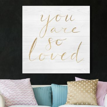 Product picture Canvas Art - Wooden Wall White - Loved -...