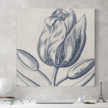 Product picture Canvas Art - Indigo Blossom On Linen IV...