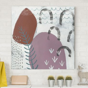 Product picture Canvas Art - Carnival Of Shapes In Berry...