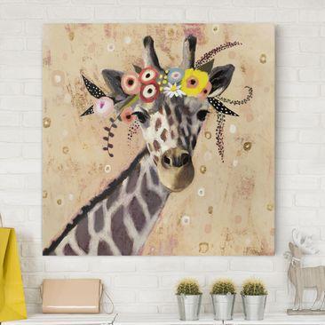 Produktfoto Leinwandbild - Klimt Giraffe - Quadrat 1-1 vergrößerte Ansicht in Wohnambiente Artikelnummer 233239-XWA