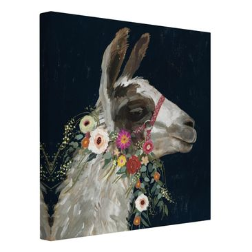 Product picture Canvas Art - Lama With Floral Decoration...