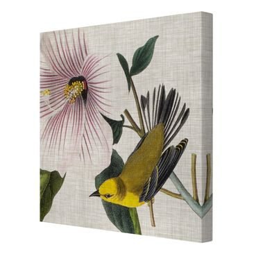 Product picture Canvas Art - Bird On Linen Yellow I -...