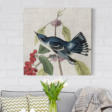 Product picture Canvas Art - Bird On Linen Pink II -...