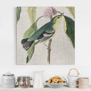 Product picture Canvas Art - Bird On Linen Pink I -...