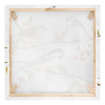 Product picture Canvas Art - Birds And Berries - Tits -...