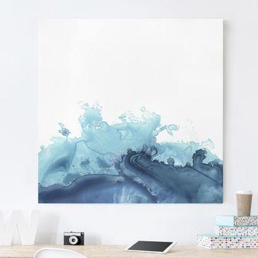Produktfoto Leinwandbild - Welle Aquarell Blau I - Quadrat 1-1 vergrößerte Ansicht in Wohnambiente Artikelnummer 233316-XWA