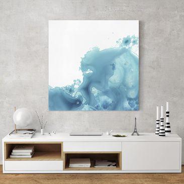 Produktfoto Leinwandbild - Welle Aquarell Türkis II - Quadrat 1-1 vergrößerte Ansicht in Wohnambiente Artikelnummer 233317-XWA