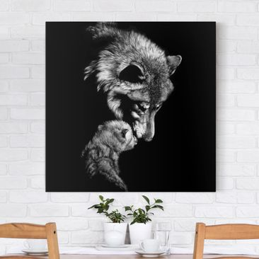Product picture Canvas Art - Wolf In The Dark - Square...