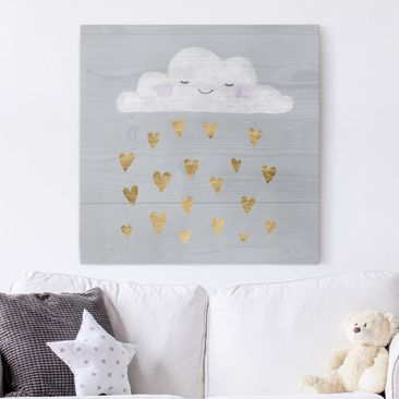 Product picture Canvas Art - Cloud With Golden Hearts -...