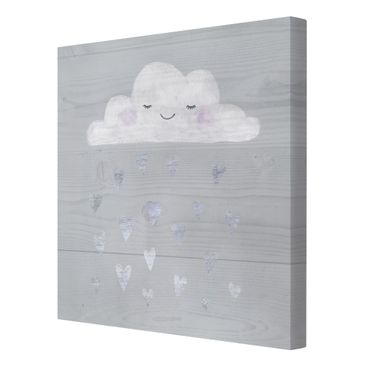 Product picture Canvas Art - Cloud With Silver Hearts -...