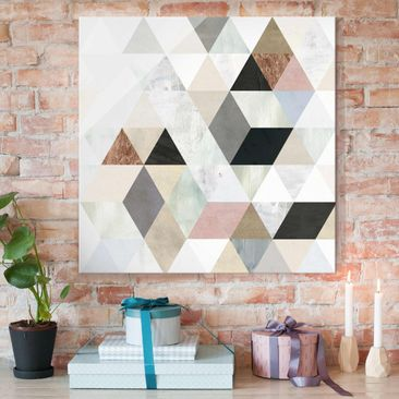 Product picture Print on Glass - Watercolor Mosaic With...