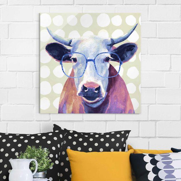 Produktfoto Glasbild - Bebrillte Tiere - Kuh - Quadrat 1:1