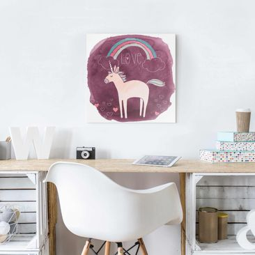 Product picture Print on Glass - Unicorn Troop - Love -...