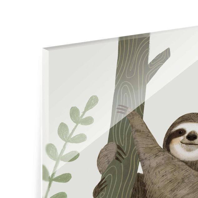 Produktfoto Glasbild - Faultier Sprüche - Back - Quadrat 1:1