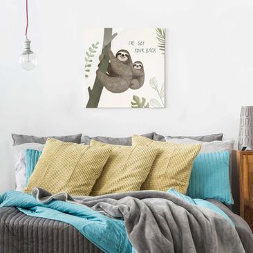Product picture Print on Glass - Sloth Sayings - Back -...