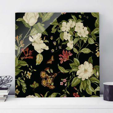 Produktfoto Glasbild - Gartenblumen auf Schwarz II - Quadrat 1:1