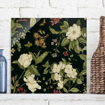 Product picture Print on Glass - Garden Flowers On Black...