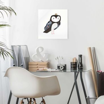 Product picture Print on Glass - Crowned Owl Dark -...