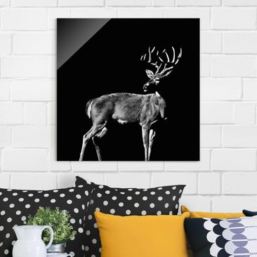 Product picture Print on Glass - Deer In The Dark -...