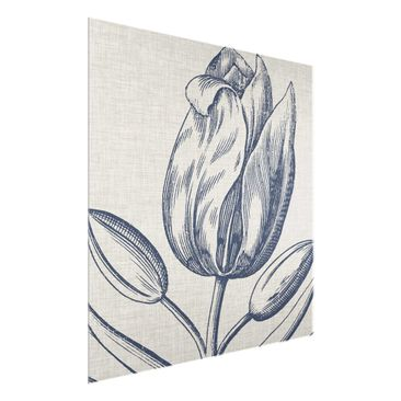 Product picture Print on Glass - Indigo Blossom On Linen...