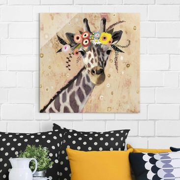 Product picture Print on Glass - Klimt Giraffe - Glass...