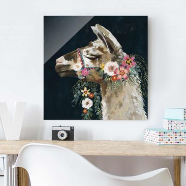 Product picture Print on Glass - Lama With Floral...
