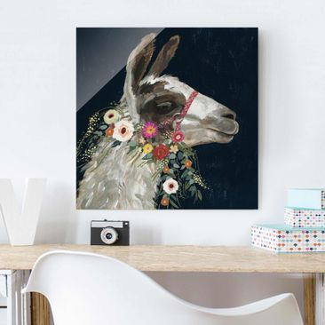 Produktfoto Glasbild - Lama mit Blumenschmuck I - Quadrat 1:1