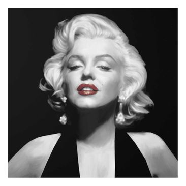 Product picture Print on Glass - Marilyn With Red Lips -...