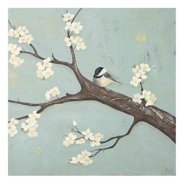 Product picture Print on Glass - Titmouse On Cherry -...