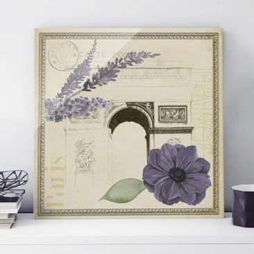 Product picture Print on Glass - Paris Collage Arc De...