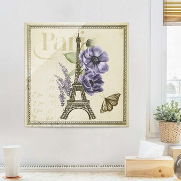 Product picture Print on Glass - Paris Collage Eiffel...
