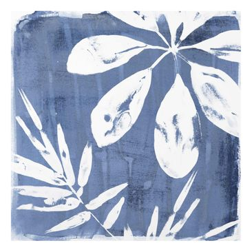 Product picture Print on Glass - Tropical Leaves Indigo...