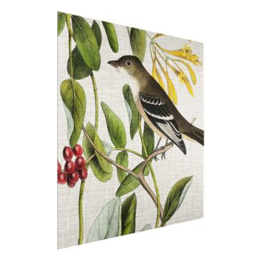 Product picture Print on Glass - Bird On Linen Yellow II...